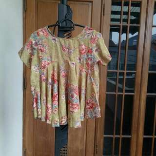 Lime Flowery Top