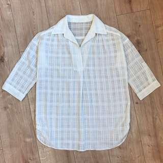 🚚 日本帶回 七分袖透視感細格紋白襯衫 長版上衣 Kashin