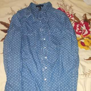 F21 Polkadot Button Up