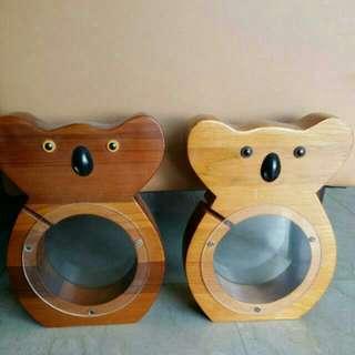 Cute wooden koala coin bank