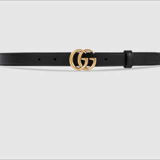 Authentic Gucci leather belt with double G buckle