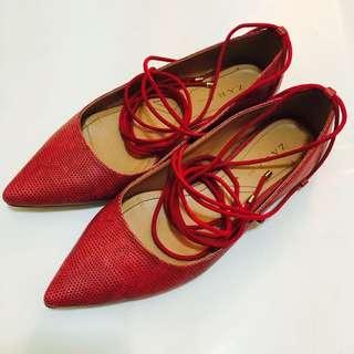 Zara綁帶芭蕾舞鞋 38
