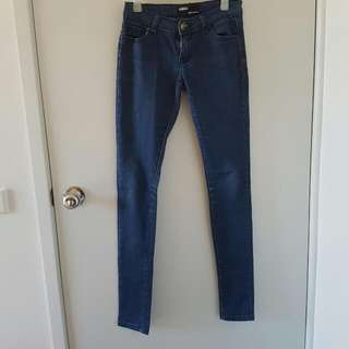 Low Waisted Blue Skinny Jeans