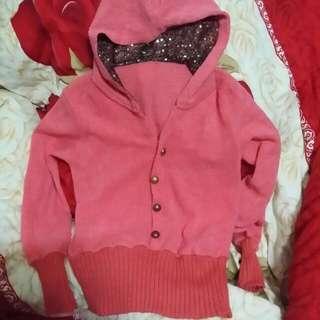 針織連身帽粉色上衣~~~短版