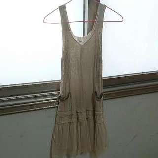 毛線拼接蕾絲襯裙