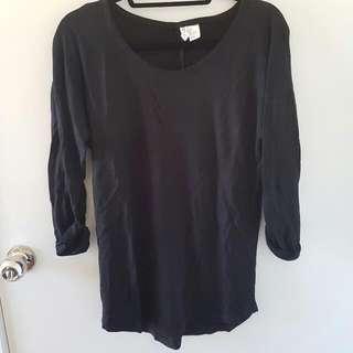 H&M Black 3/4 Sleeve Top