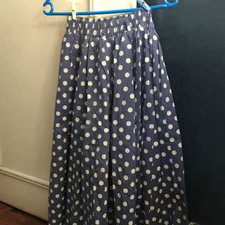 Midi Garterized Polka-Dot Skirt (One Size Fits Most)
