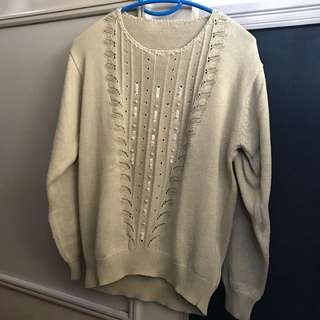 Oatmeal/Olive Beaded Knit Sweater
