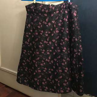 Large Floral Wool Skirt
