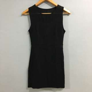 Black Fitted Short Dress (with mesh panel)