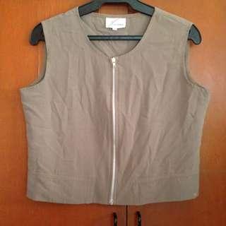 Brown Boxy Vest Top