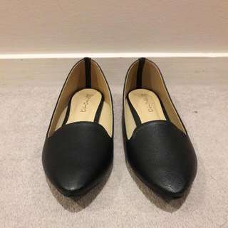 Petite UK4 Black Pointed Loafers