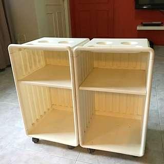 Wheeled Cabinet Shelf Bedside Table