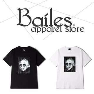 貝里斯Bailes【KS589】歐美版 / 男女款 歐美趣味惡搞愛因斯坦圖案印花搭配棉質圓領短袖T恤