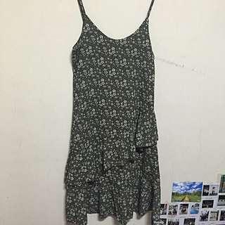 韓版墨綠魚尾碎花洋裝