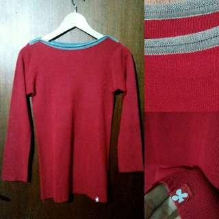Red Boat neck Sweater