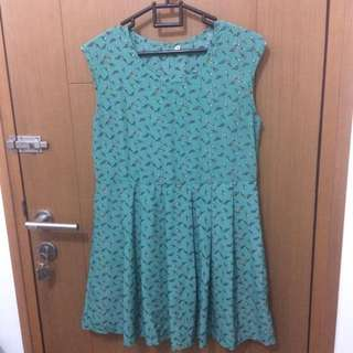Simple Green Birds Dress