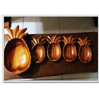 稀有實木鳳梨造型木雕旺旺來聚寶盆糖果盤居家裝飾旺財風水擺飾