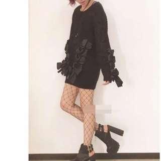 #運費我來出 日本購入 蝴蝶結 緞帶 毛衣 小惡魔 甜美 性感 暗黑少女 龐克 酷 潮人 街頭 美國