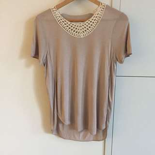 Aritzia Wilfred Tee with Crotchet Lace Neckline