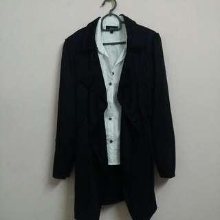 Black Drape Cardigan Like Coat