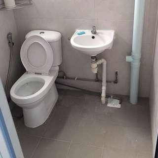 Overlay Bathroom Floor, WC And Basin