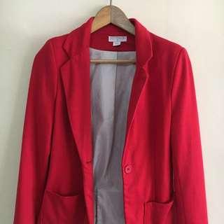 Red Cotton Blazer Cotton-on