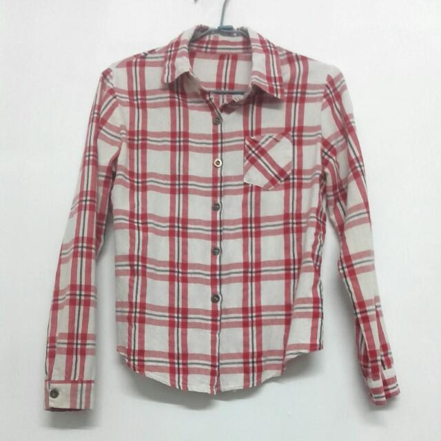 格子條紋襯衫(紅)     #冬季衣櫃出清