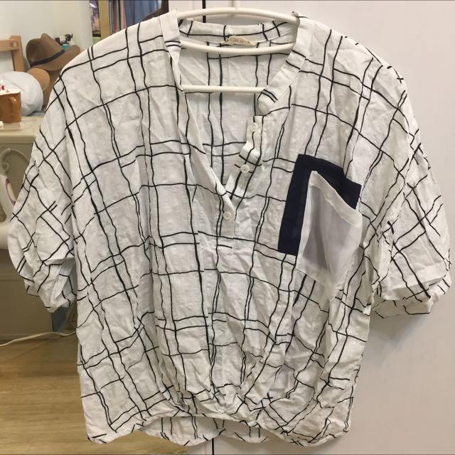 白色方格紋口袋短袖寬版襯衫