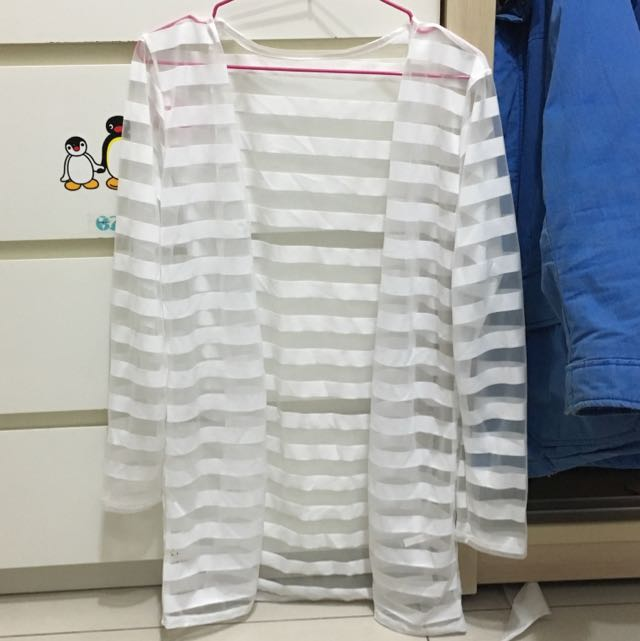 白色透明條紋薄外套