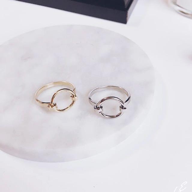 圓圈造型戒指 金色銀色各一