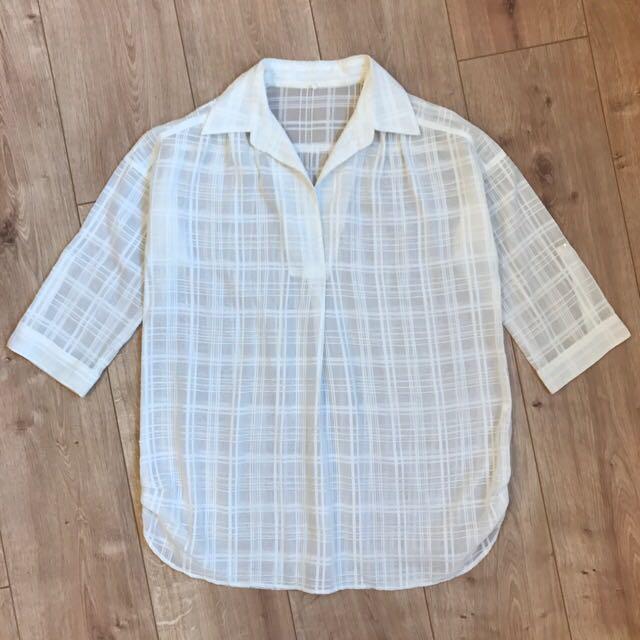 日本帶回 七分袖透視感細格紋白襯衫 長版上衣 Kashin