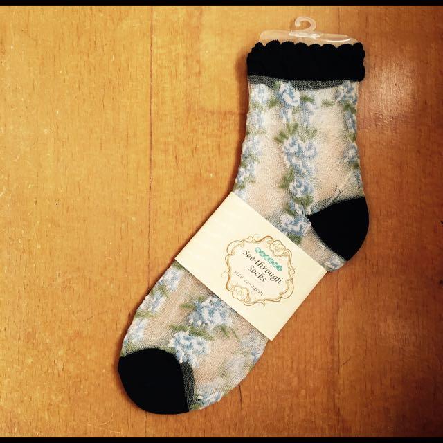 日本 玻璃襪 / 黑色藍花