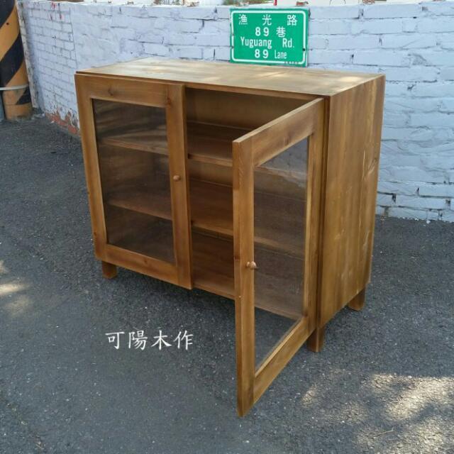 【可陽木作】原木柚木色雙門三層櫃 / 雙門置物櫃 / 收納櫃 / 書櫃 / 衣櫃 櫥櫃
