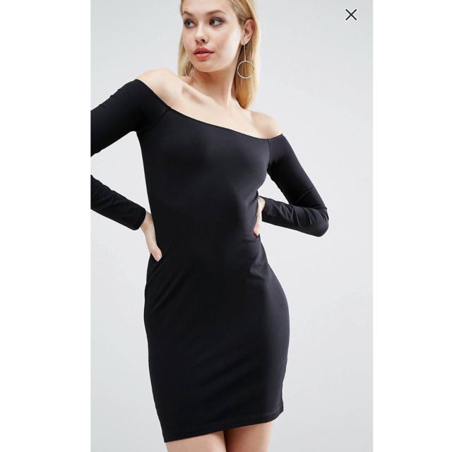 d64c8bb8522a9 ASOS Long Sleeve Off The Shoulder Bardot Bodycon Mini Dress In Black ...