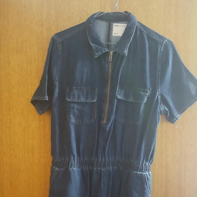 Asos New Denim Romper Sz 12