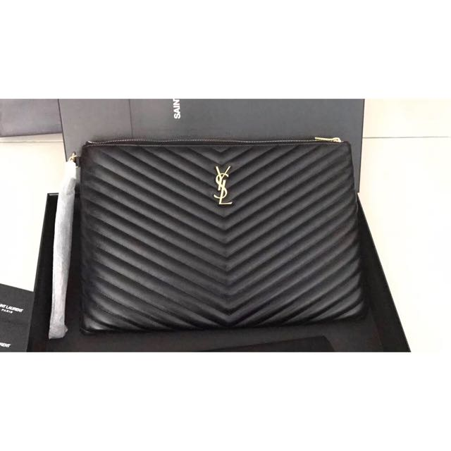 better price for best online new appearance Authentic YSL Pouch, Luxury, Bags & Wallets on Carousell