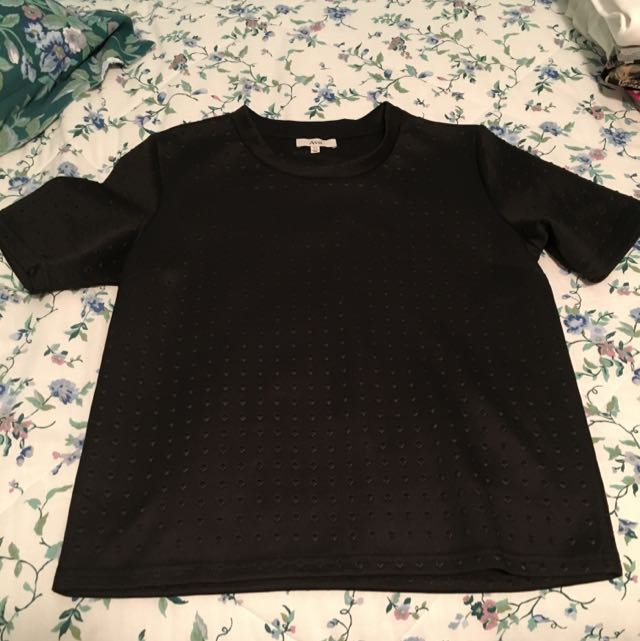 Ava Black Structured Tshirt