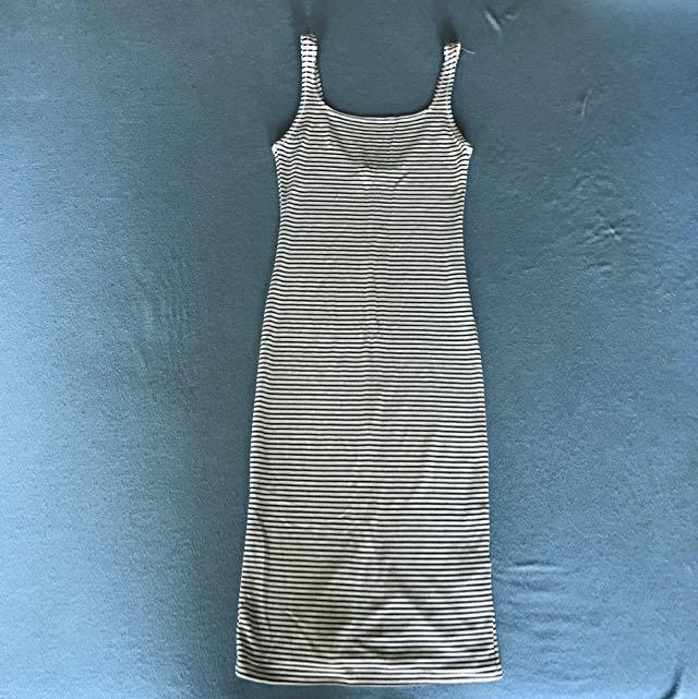 Bershka White And Black Stripe Fitted Dress
