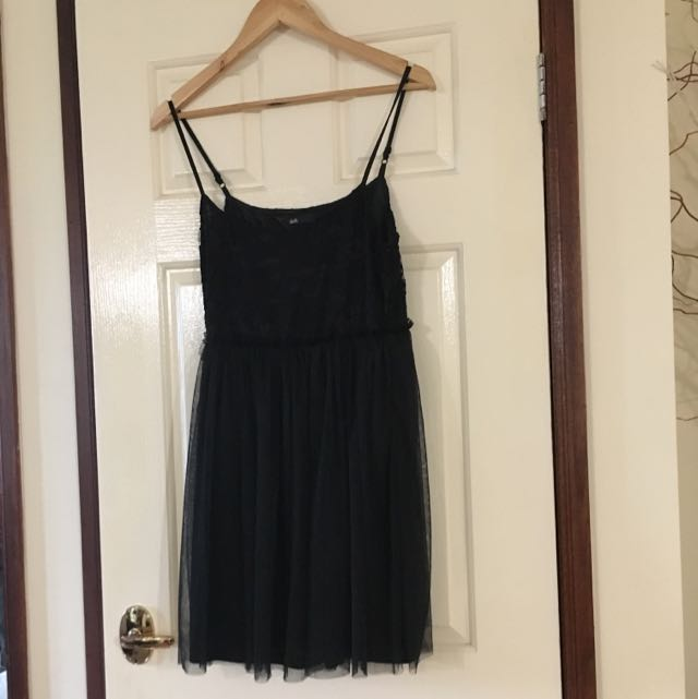 Black Lace And Tule Dress