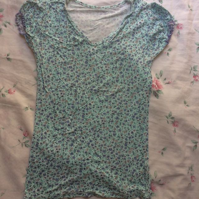 Blue Green Floral Shirt