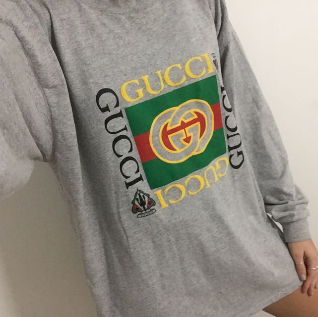 c46f5fb794b Bootleg Vintage Gucci Grey Long Sleeve Sweater Tee