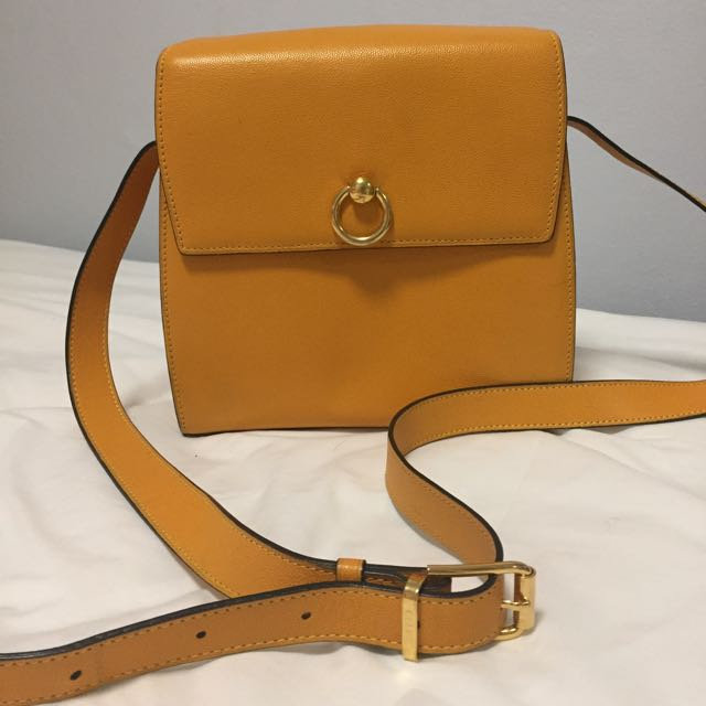 Celine Mustard Yellow Leather Box Kelly Satchel Shoulder Bag