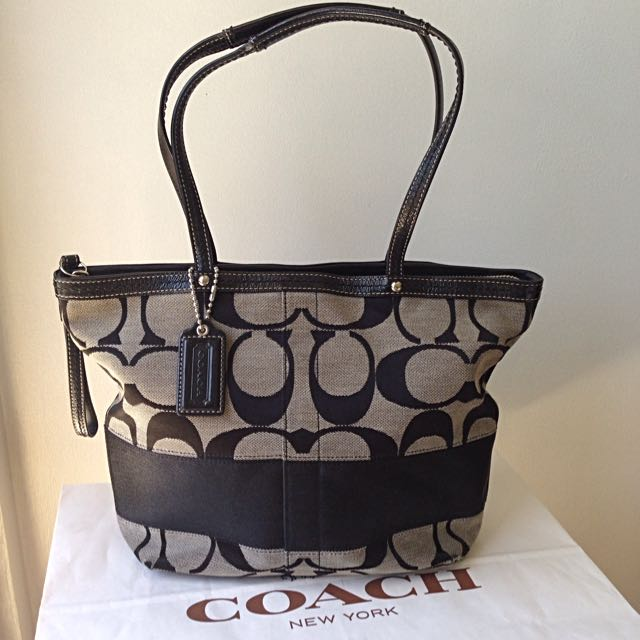 Coach Black Signature Stripe Tote Bag 13548