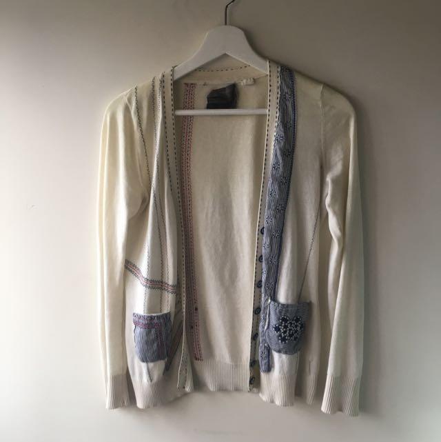 Cream Embroidered Cardigan