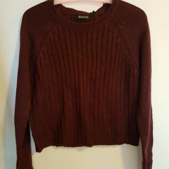 Cropped Burgundy/plum Jumper