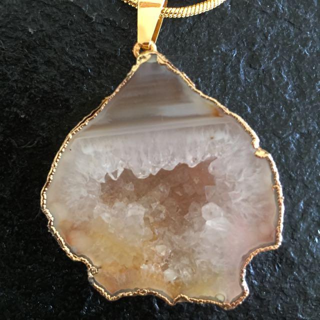 Druzy Quartz Gemstone With Chain