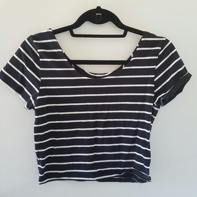 Factorie Striped Crop Tee