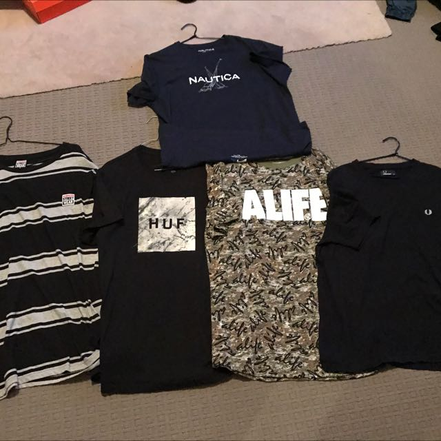HUF Nautica Fred Perry A Life Vision Streetweat T Shirts Lot
