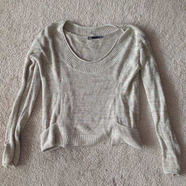 Knitted Cream Jumper, Size M From Dotti
